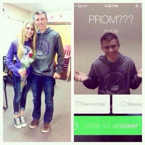 """Promposal. The teacher took her phone and """"yelled"""" at her for having it out in class and then she changed his name to prom? Cute prom asking idea"""