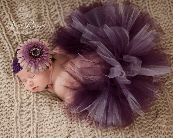 Newborn Baby Photo Prop Plum Tutu Set by LittleBooCreations,