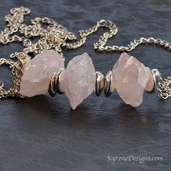 Hammered rose quartz gemstones. kyrenedesigns.com