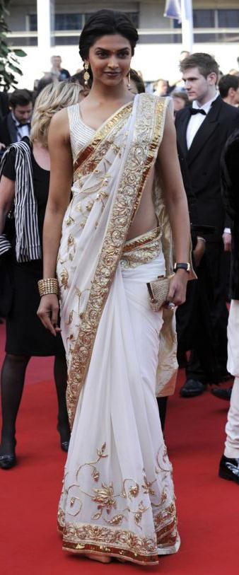 Deepika Padukon in white saree at Cannes Film Festival $185.37