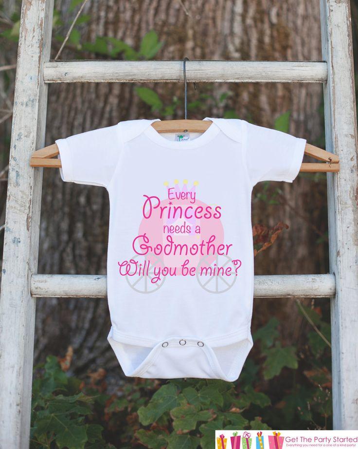 Will You Be My Godmother Outfit - Newborn Baby Girl Bodysuit - Every Princess Needs a Godmother Onepiece - Godchild and Godparent Keepsake