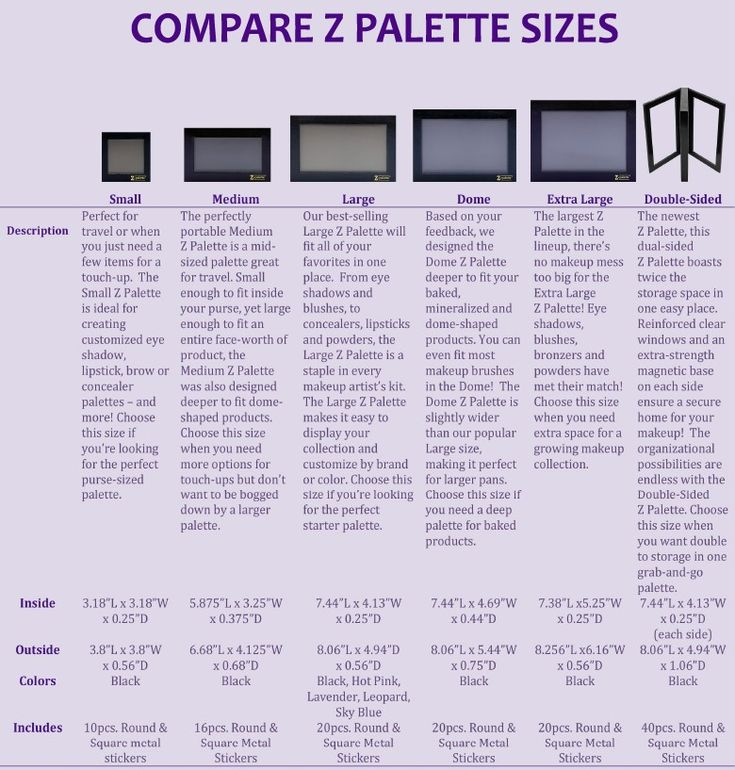 Z Palette Sizes                                                                                                                                                      More