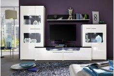 Lucky Wall Combination in White and Black in High Gloss and LED Lighting will add monochrome glamour to your living room. Includes Lucky Tall and Small Display Cabinet along with TV Stand and Wall Panel with Cold White LED lighting.