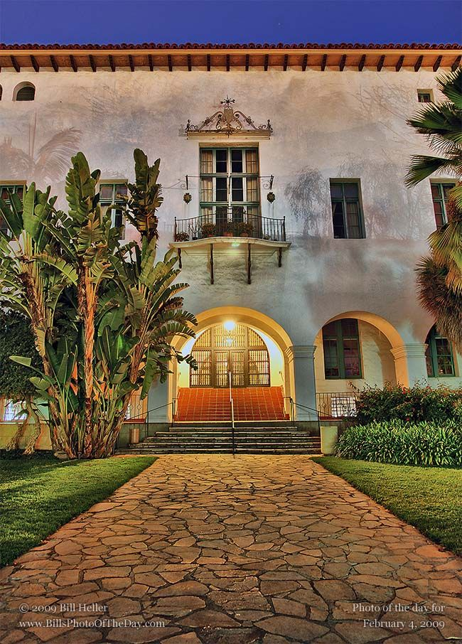 The Figueroa Entrance of the Santa Barbara County Courthouse, long exposure after dark.    Photographic Print        http://www.BillHeller.com