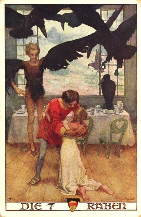 "Grimms, ""The Seven Ravens.""  The sister has rescued her brothers from a curse that has turned them into ravens."