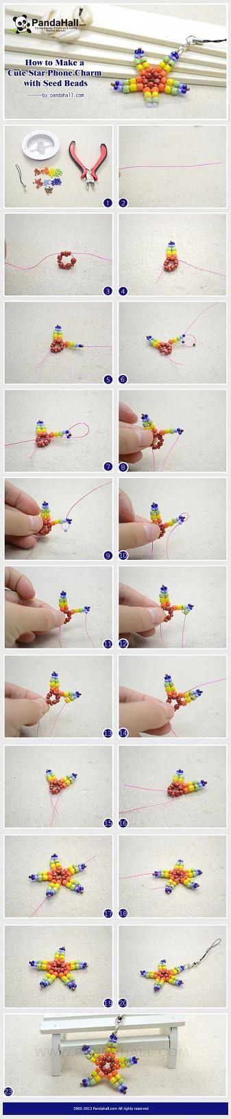 How to Make a Cute Star Phone Charm with Seed ... | Jewelry Making Tu…