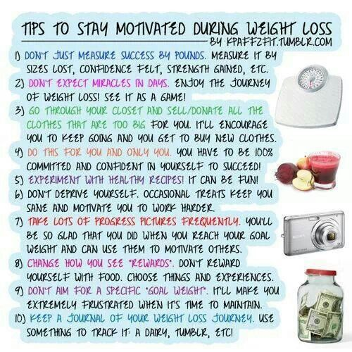Staying motivated is key to losing weight.  You can do it.  Great tips here to help.