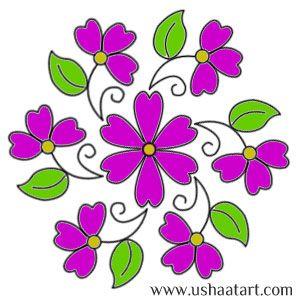 Flower Kolam 40---step by step design