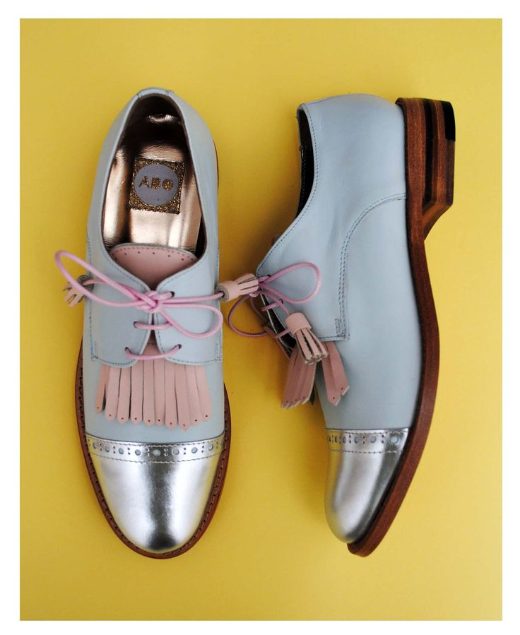 ABO silver & blue brogues with pink fringes I'm in deep love