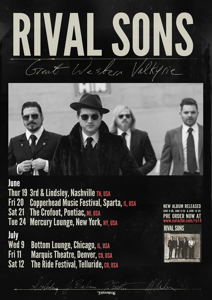 Get your daily dose of class from the Rival Sons this June and July on a lil mini tour