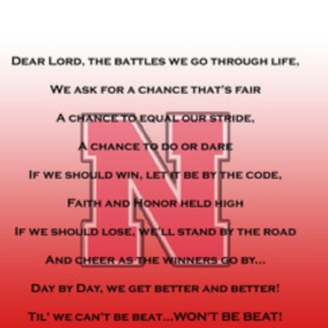 University of nebraska pregame prayer sports quotes pinterest