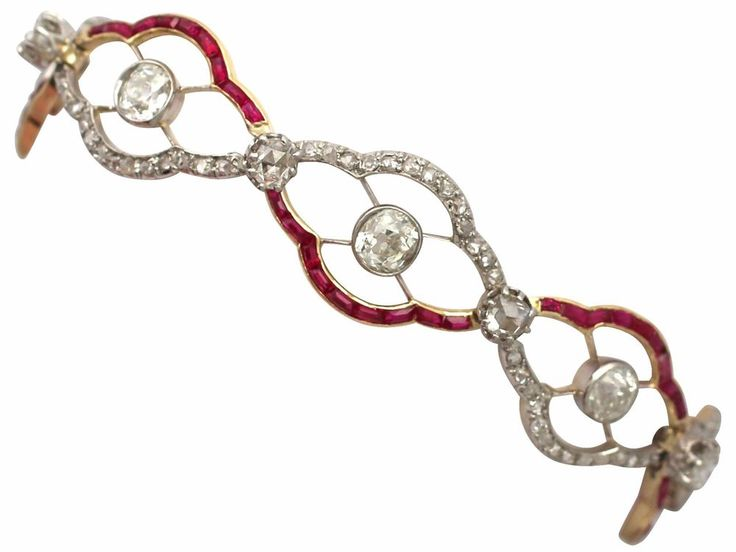Antique Circa 1910 4.31Ct Diamond & Synthetic Ruby, 18k Yellow Gold Bracelet #Unbranded #Link
