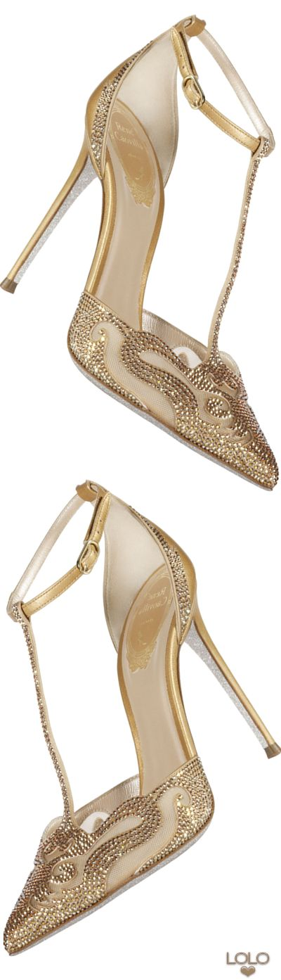 Rene Caovilla Electric Mesh Crystal Embellished T-Strap gold | LOLO❤︎