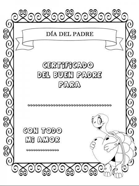 Certificado dia del padrejpg GratisTodocom Tarjetas Dia Del Padre Para Colorear E Imprimir