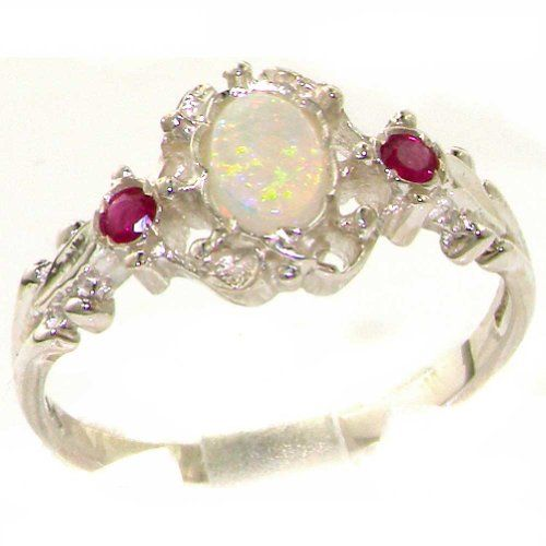VINTAGE design 925 Solid Sterling Silver Natural Fiery Opal & Ruby Ring - Size 8 - Finger Sizes 4 to 12 Available - Suitable as an Eternity, Engagement, Promise or Anniversary Ring LetsBuySilver,http://www.amazon.com/dp/B00F94SQFI/ref=cm_sw_r_pi_dp_wiwBsb0TB8TTVVHP