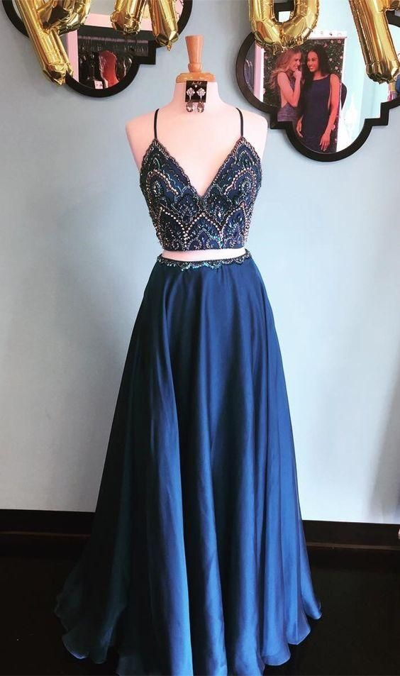 spaghetti straps blue two pieces long beaded prom dress, BD4454