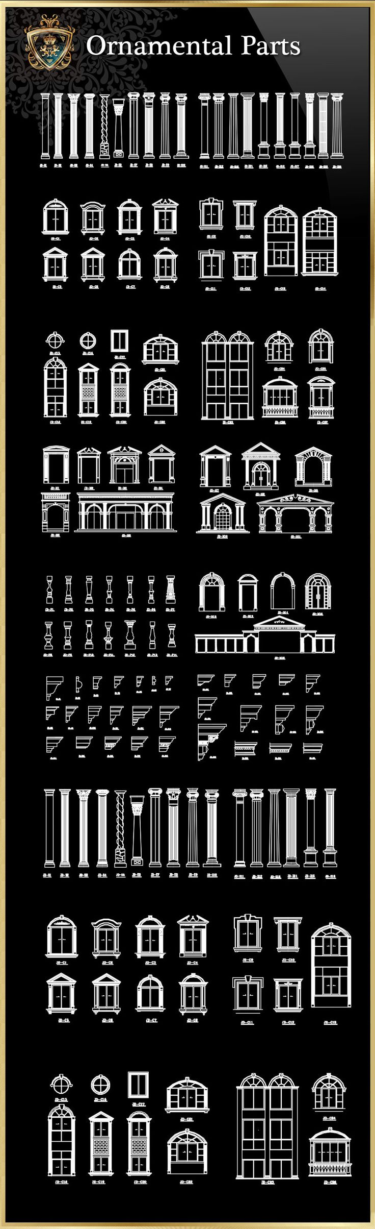 ★【Ornamental Parts of Buildings 7】Download Luxury Architectural Design CAD Drawings--Over 20000+ High quality CAD Blocks and Drawings Download!