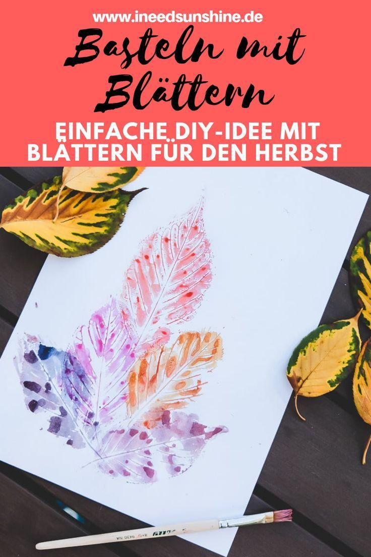 Herbstblätter bemalen: Einfaches Basteln im Herbst mit Kindern