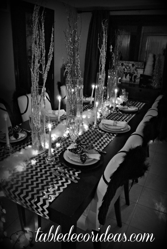 30 best table ideas images on pinterest dinner table chevron table theme black white christmas theme junglespirit Image collections