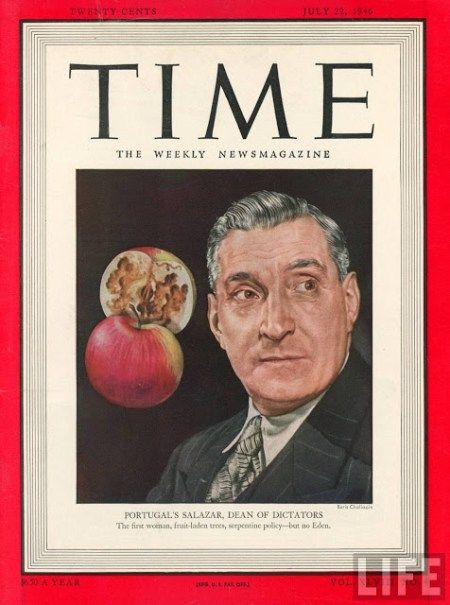TIME cover 07-22-1946 ill. of Portugese leader Antonio Salazar. July 22, 1946 Boris Chaliapin