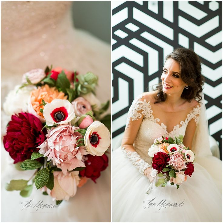 red and coral paper flowers