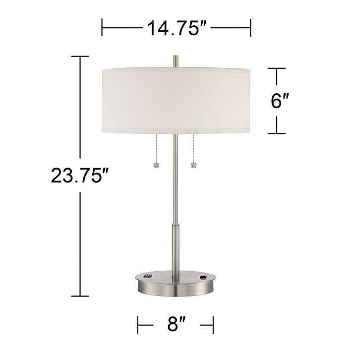 Nikola Metal Table Lamp With Usb Port And Utility Plug 7j478 Lamps Plus Metal Table Lamps Lamp Table Lamp