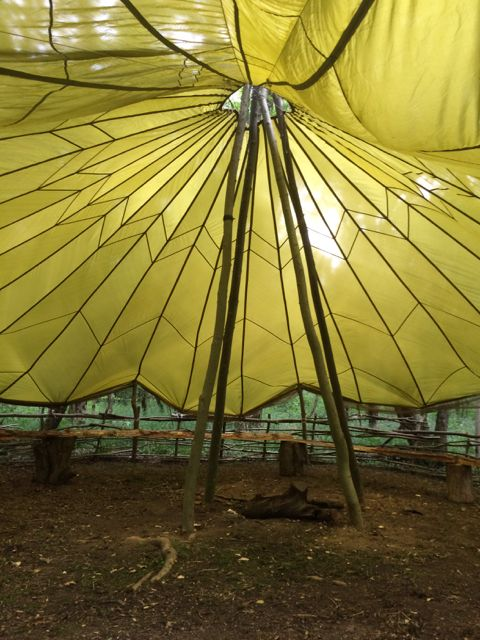 Inside View Of The Parachute Shelter Bushcraft Camp