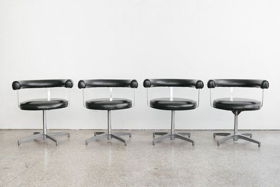 style: Mid Century, Modern, swivel, dining chairs, set of 4 material: aluminum frames, naugahyde upholstery age: vintage condition: good, age