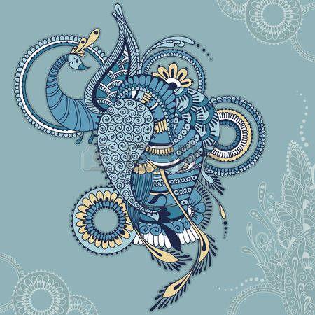 павлин: Павлин на фоне с цветочным орнаментом индийских. Птица Феникс для вашего дизайна, веб-страницы фоны, текстуры поверхности, печать на одежде или другое.