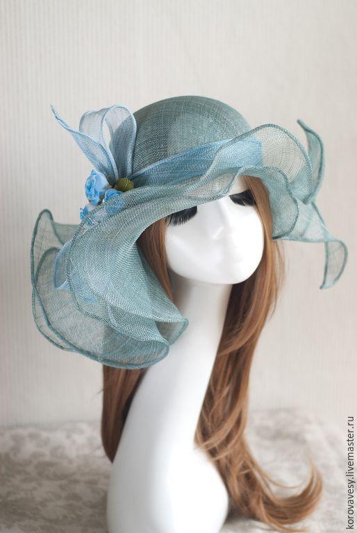 """Купить """"Фея лесного ручья"""" - тёмно-бирюзовый, соломенная шляпка, шляпа с полями, сине-зеленый"""
