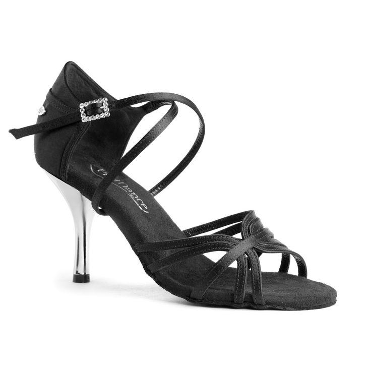 Sensuel latin dansesko, PortDance modellen hedder PD410 Fashion i sort  satin og metallic hæl,