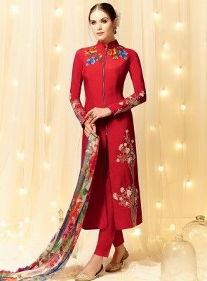 #Red High Neck #PantStyle #Suit Is on cotton satin fabric with fine embroidery, pure cotton bottom and pure chiffon dupatta.