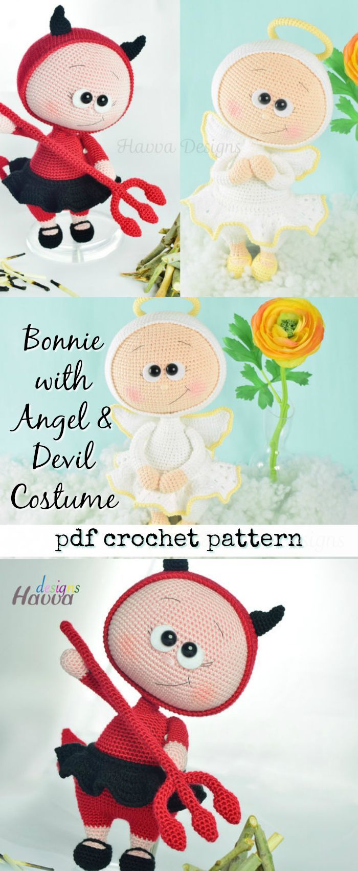 """Bonnie"" crochet doll with angel costume and devil costume. Cute little toys to make DIY. #etsy #ad #doll"