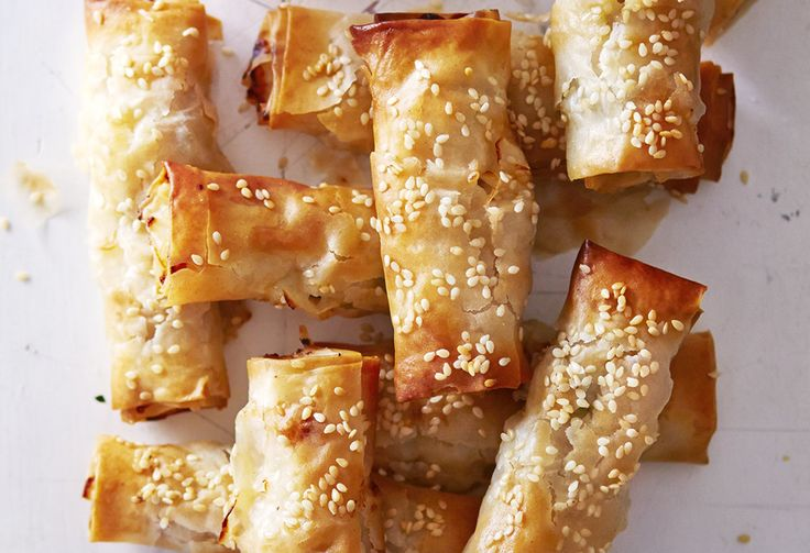 Fill filo pastry parcels with turkey or chicken mince, spring onions and ginger for a buffet nibble or party canapé similar to a spring roll.