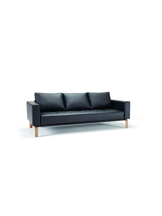 Sectional Sleeper Sofa Cassius Q Deluxe Black Leather Sofa Bed Lacquered Oak Legs by Innovation
