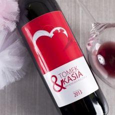 Personalizowane Czerwone Wino SERCE idealny na urodziny