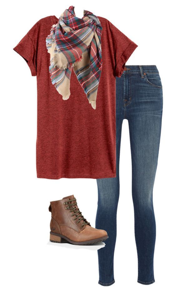 #fall #outfits / Long T-shirt + Plaid Scarf