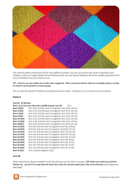 RubyRed Eclectic: FREE Garter Stitch Mitred Square Pattern. Use a tablet so you can zoom it to see the pattern