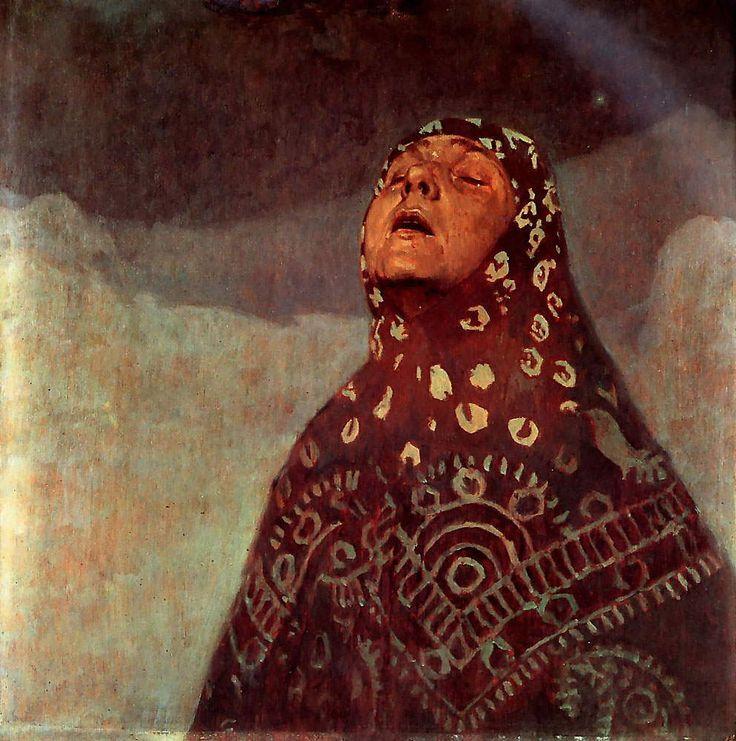 アルフォンス・ミュシャ Winter Night 1920  Oil on cardboard  60 x 73 cm