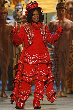 Whoopi as Sebastian the Crab-- I like this hat and the big sequins!