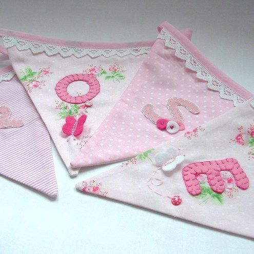 Pretty bunting with lace and appliqué