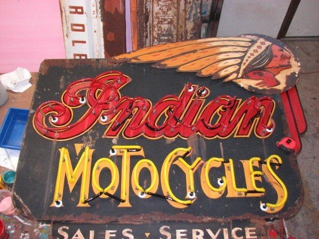 """""""Indian MotoCycles"""" by Todd Sanders. Made new to look weathered."""