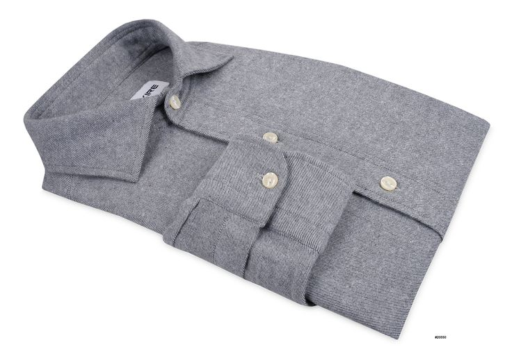 Grey Twill Flannel Flannel shirt in grey for smart-casual appeal. Features: 1-Button cuff