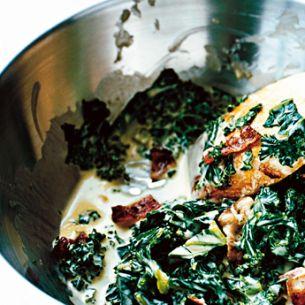 Gräddstuvad grönkål med bacon