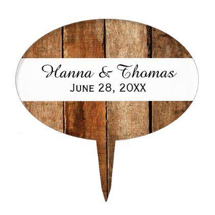 Dark Rustic Barn Wood Wedding Cake Topper - wood wedding style nature diy customize personalize marriage