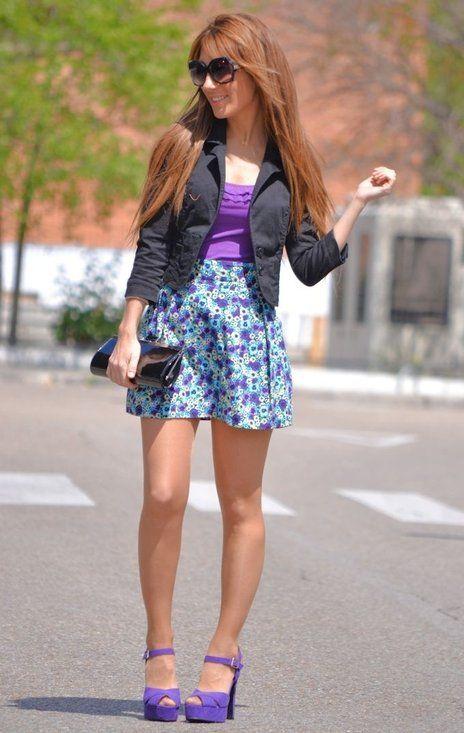 FALDA ESTAMPADA  , H in Blazers, H in Skirts, Primark in Heels / Wedges, Zara (new collection) in T Shirts