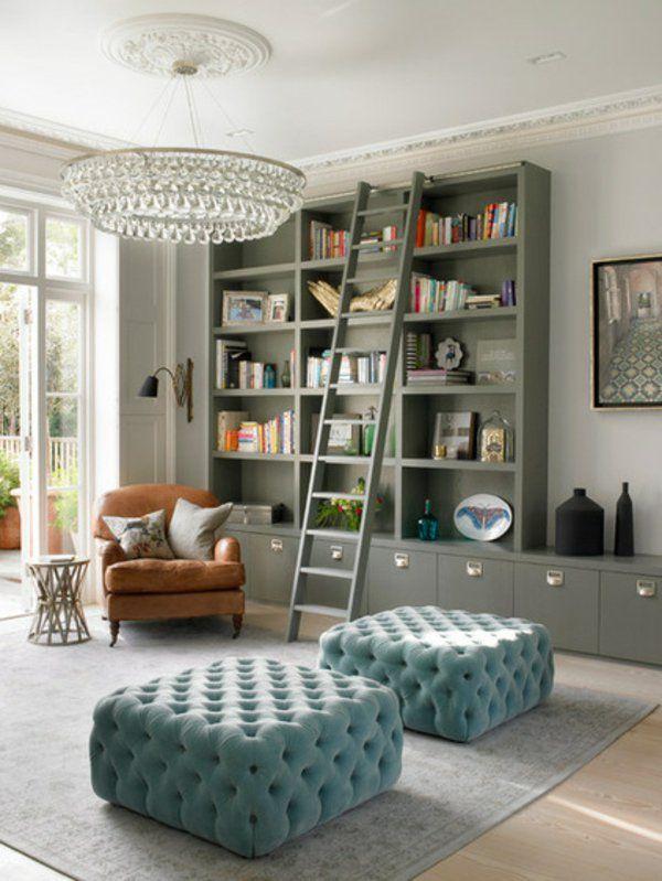 Wohnideen Einrichten Wohnzimmer Leiter Bibliothek