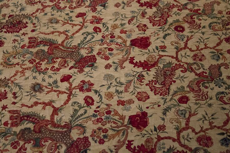 Quilted bed-spread of chintz.