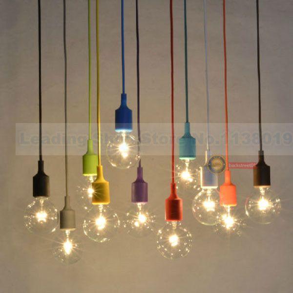 Nouveau design E27 socket Lustre lampe luminaire Suspendu couleur ligne titulaire De Silicone pendentif (ampoules contient pas) dans Lampes Suspendues de Lumières et Éclairage sur AliExpress.com   Alibaba Group sans ampoule