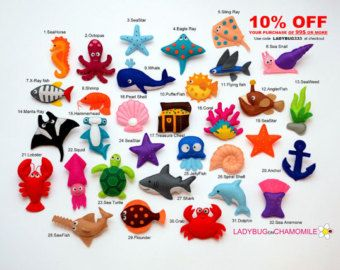 CORAL reef FISHES felt magnets Tropical by LadybugOnChamomile